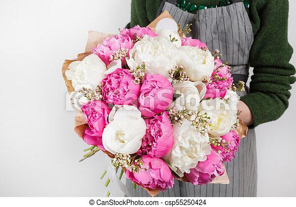 Pfingstrosen Rosa Hintergrund Hell Bluhen Frisch Weisse