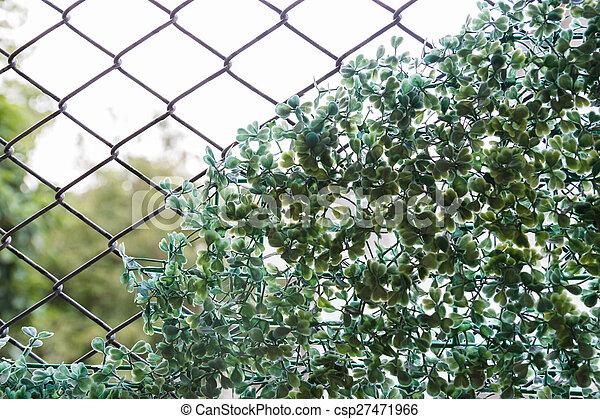 Pflanze, draht, hintergrund, zaun, fälschung. Pflanze,... Stockbild ...