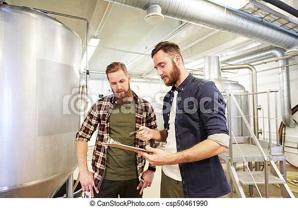 Pflanze, maenner, brauerei, bier, klemmbrett, oder. Brauerei ...