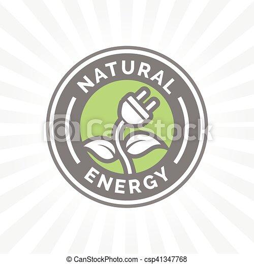 Pflanze, natürlich, elektrisch, elektrizität, energie, symbol, ikone ...