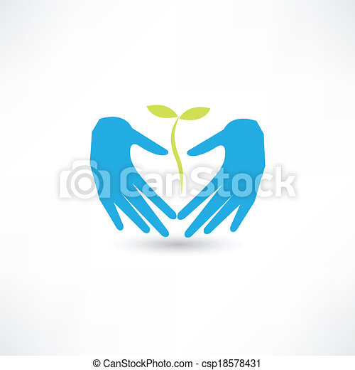 pflanze, sorgfalt, ikone - csp18578431