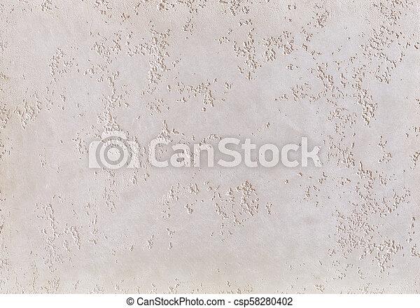 Beige plaster strukturierter Hintergrund. Abstrakt beige Stuck. Gips auf der Wand. - csp58280402