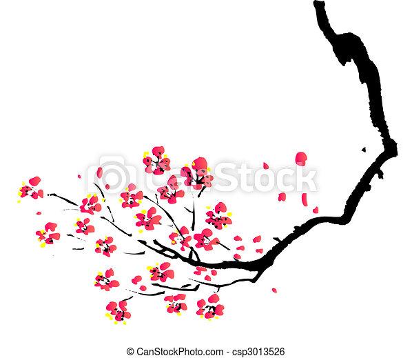 pflaume, gemälde, chinesisches  - csp3013526
