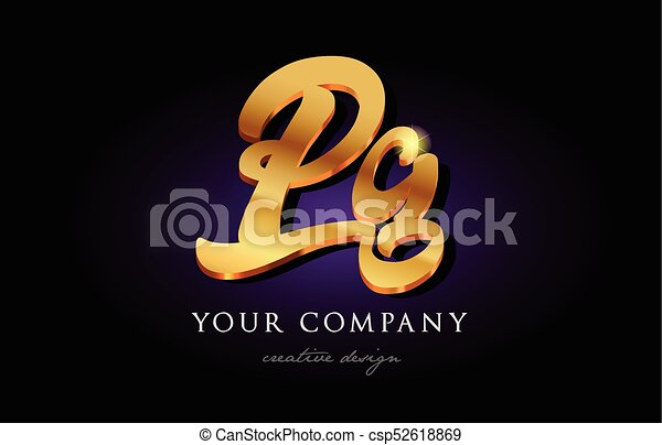 Pg P G 3d Gold Golden Alphabet Letter Metal Logo Icon Design Handwritten Typography