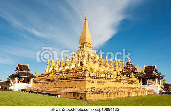 Pha That Luang monument, Vientiane, Laos. - csp10894123