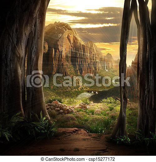 phantasy, landschaftsbild - csp15277172