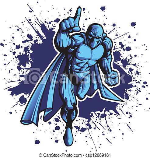 Phantom. Dark superhero or villain charging forward. put your logo ...
