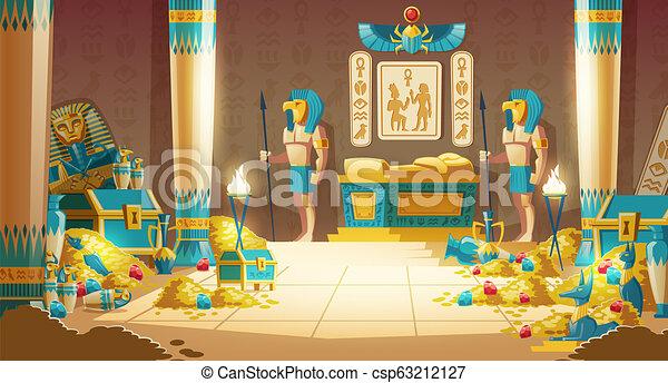 Pharaoh tomb full of treasures cartoon vector - csp63212127