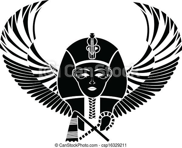 pharaon, 翼, エジプト人 - csp16329211