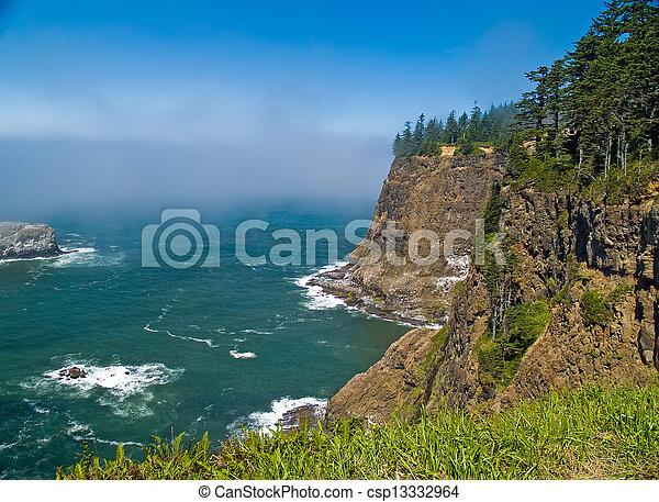 phare, accidenté, rocheux, négliger, côte orégon, littoral, cap, meares - csp13332964