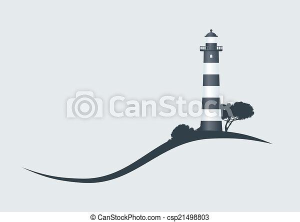 phare, illustration, coteau, vecteur, noir, rayé - csp21498803