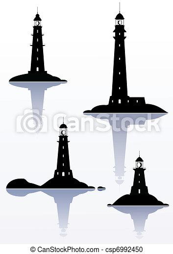 Phare isol quatre illustrations blanc - Dessin de phare ...