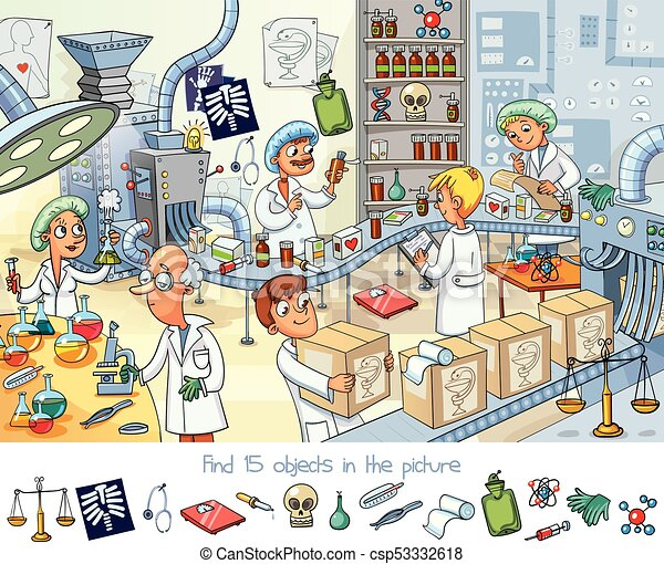 Pharmaceutical factory. Find 15 objects in the picture - csp53332618