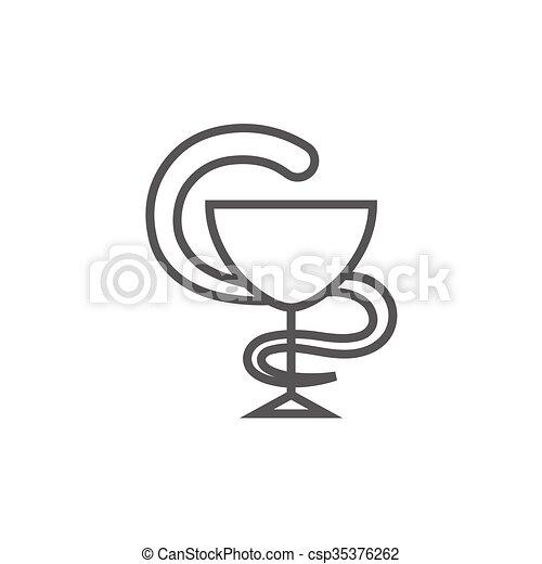 Pharmaceutical medical symbol line icon. - csp35376262