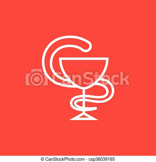 Pharmaceutical medical symbol line icon. - csp36039165