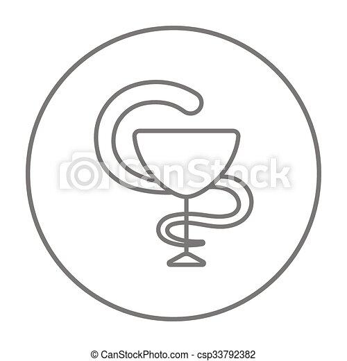 Pharmaceutical medical symbol line icon. - csp33792382