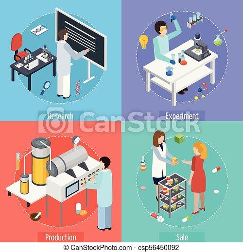 Pharmaceutique, isométrique, production, 4, icônes ...