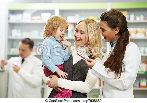 pharmacie, enfant, chimiste, pharmacie, mère - csp7938680