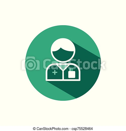 Pharmacist man icon with shadow on a green circle. Vector pharmacy illustration - csp75528464