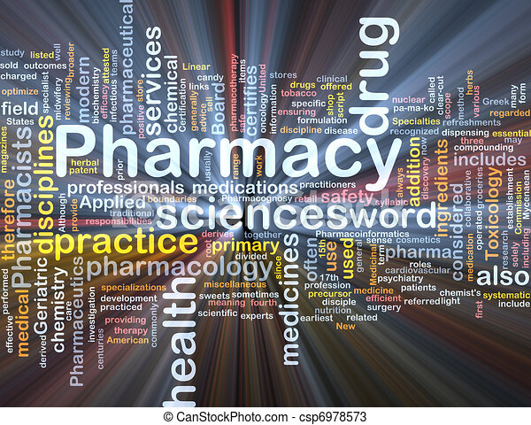 Pharmacy background concept glowing - csp6978573