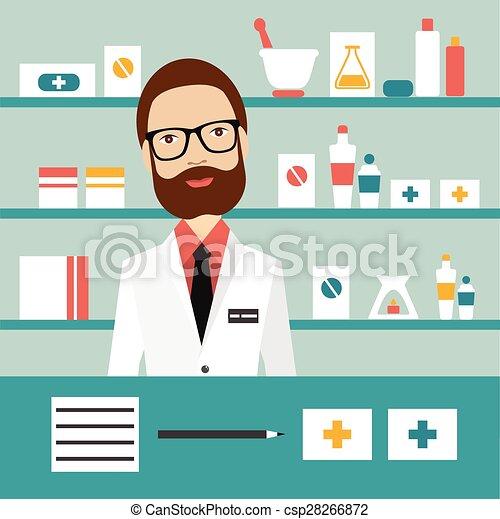 Pharmacy chemist man standing in drugstore. Flat vector. - csp28266872