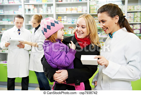 Pharmacy chemist, mother and child in drugstore - csp7938742