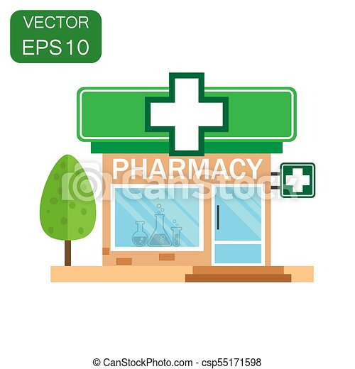 Pharmacy drugstore shop icon. Business concept store pharmacy pictogram. Vector illustration on green background with long shadow. - csp55171598