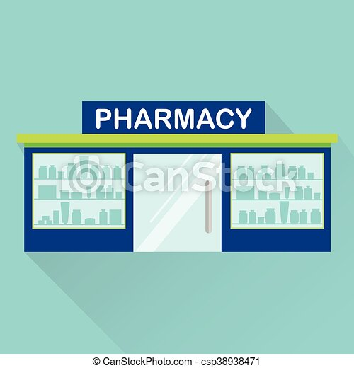 Pharmacy, drugstore vector icon with long shadow - csp38938471