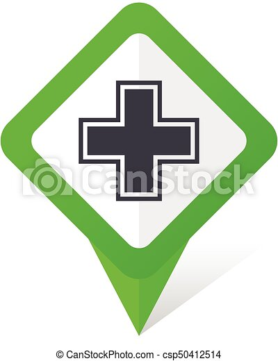 Pharmacy green square pointer vector icon in eps 10 on white background with shadow. - csp50412514