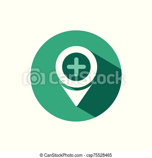 Pharmacy location icon with shadow on a green circle. Vector pharmacy illustration - csp75528465