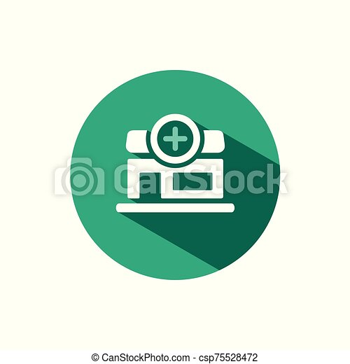 Pharmacy shop icon with shadow on a green circle. Vector pharmacy illustration - csp75528472