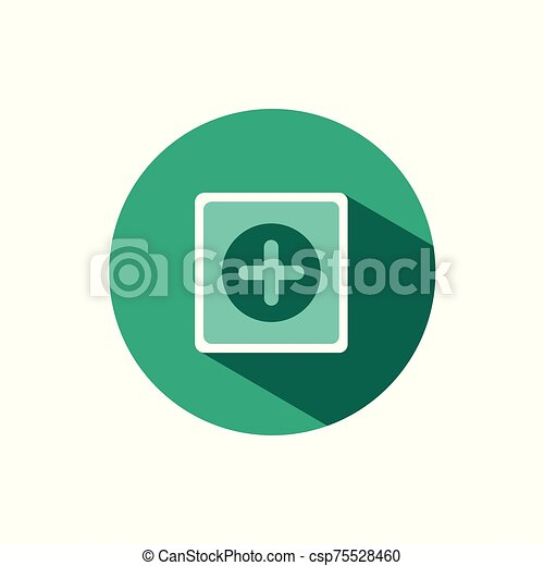 Pharmacy sign icon with shadow on a green circle. Vector pharmacy illustration - csp75528460