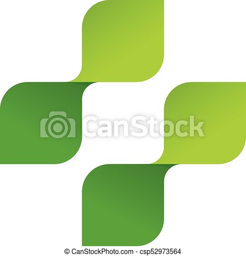 Pharmacy Vector Logo Medical Symbol Cross Of Green Leaves Clip