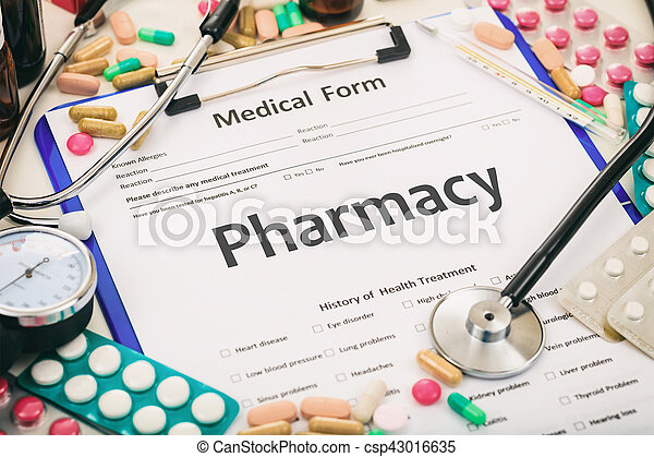 Word pharmacy written on a medical form