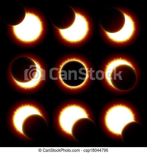 phases, éclipse, solaire - csp18044795