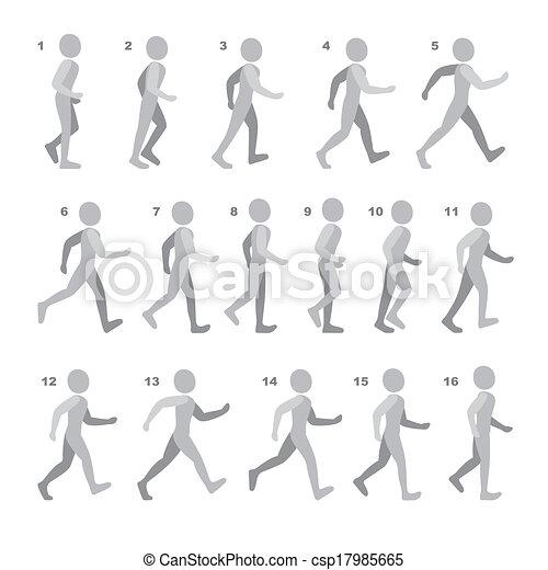 phases, séquence, jeu, marche, étape, animation, blanc, homme, mouvements - csp17985665