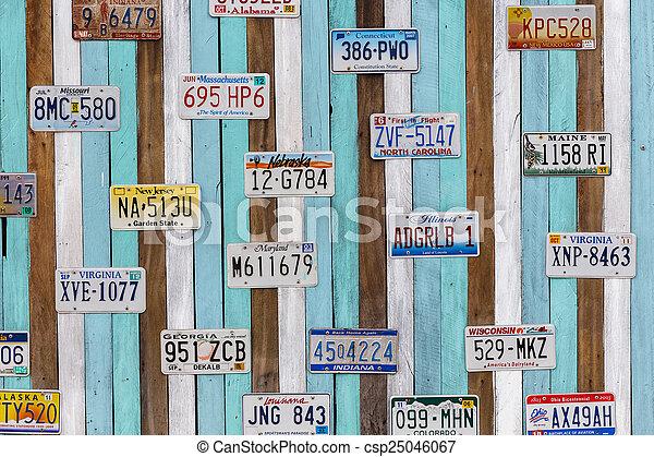 PHETCHABURI, THAILAND - January 8 : Old US car registration plat - csp25046067