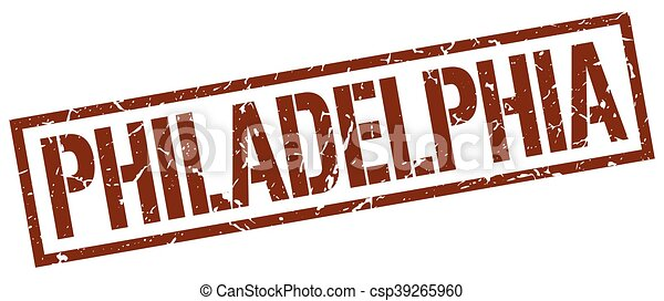 Philadelphia, brauner Quadratstempel - csp39265960