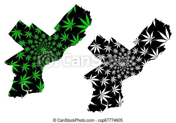 Philadelphia city - map is designed cannabis leaf