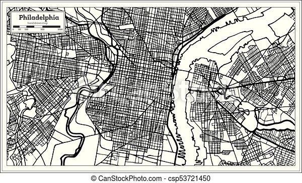 Philadelphia pennsylvania usa map in black and white color. vector ...