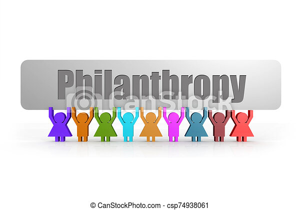 Philanthropy word on a banner hold by group of puppets - csp74938061
