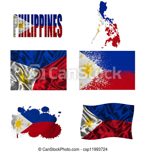 Philippines Flag And Map In Different Styles Textures