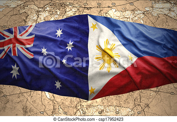 Philippines and australia waving philippine and australian flags of philippines and australia csp17952423 gumiabroncs Image collections
