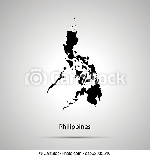 Simple Philippines Map.Philippines Country Map Simple Black Silhouette On Gray