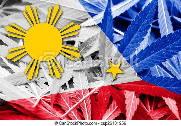 Philippines Flag On Cannabis Background Drug Policy Legalization Of Marijuana