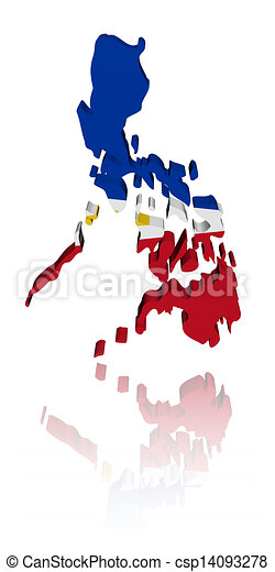 Philippines map flag with reflection illustration - csp14093278
