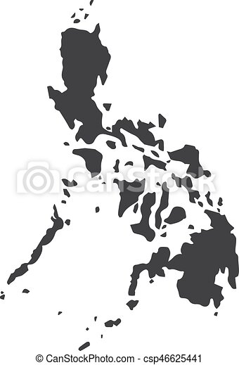 Philippines Map Black And White.Philippines Map In Black On A White Background Vector Illustration