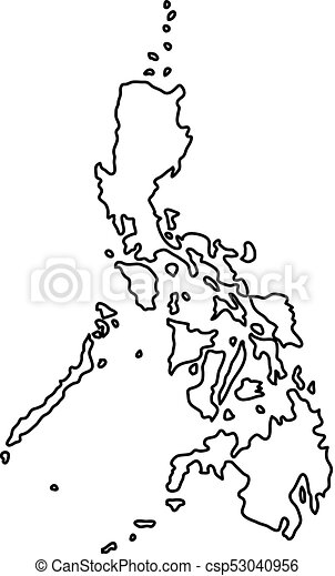 Philippines Map Black And White.Philippines Map Of Black Contour Curves On White Background Of