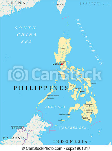 Philippines Political Map With Capital Manila National Borders