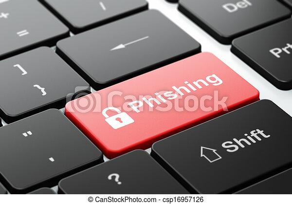 Concepto de protección: candado cerrado y desgaste en el teclado - csp16957126